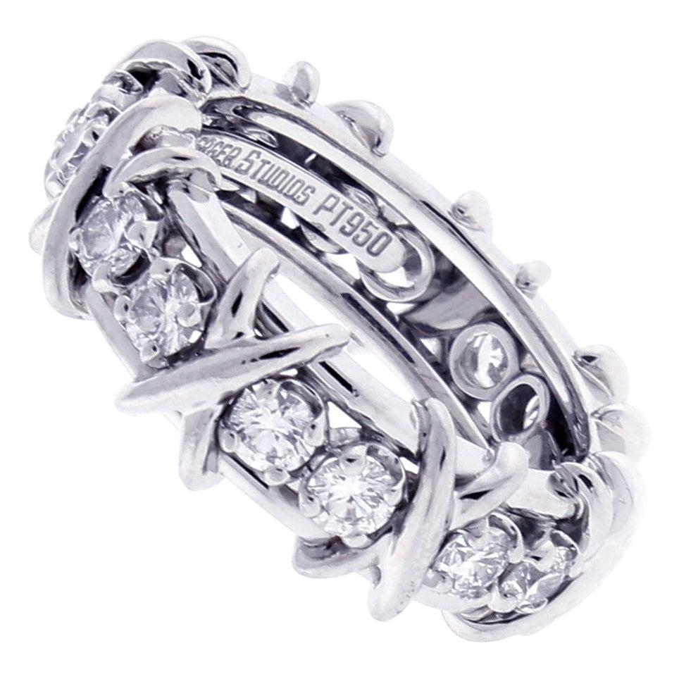 Tiffany & Co. Schlumberger 16-Stone Diamond Platinum X-Ring