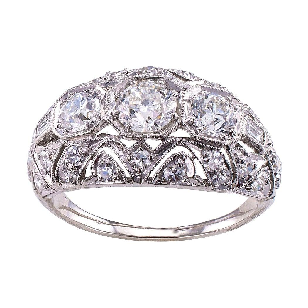 Art Deco Diamond Three-Stone Platinum Ring