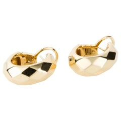 Pomellato 18 Karat Faceted Yellow Gold Earring Hoops