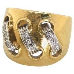 Cartier 18 Karat Yellow and White Gold Diamond Lace Up Ring