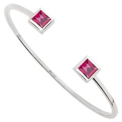Le Carré Bangle in 18 Carat White Gold Set with 2 Rubellites of 1.78 Carat