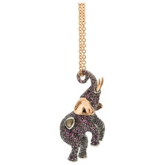 Elephant with Sapphires and Amethysts 18 Karat Gold Sterling Silver Necklace