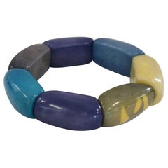Fashion Multi-Color Cuff Bracelet in Vegetable Ivory Tagua