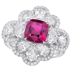 GRS Certified 3.11 Carat Unheated Pink Sapphire Ring