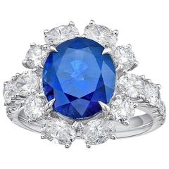 KAHN GRS Certified 6.22 Carat Ceylon Blue Sapphire Ring 'Heated'