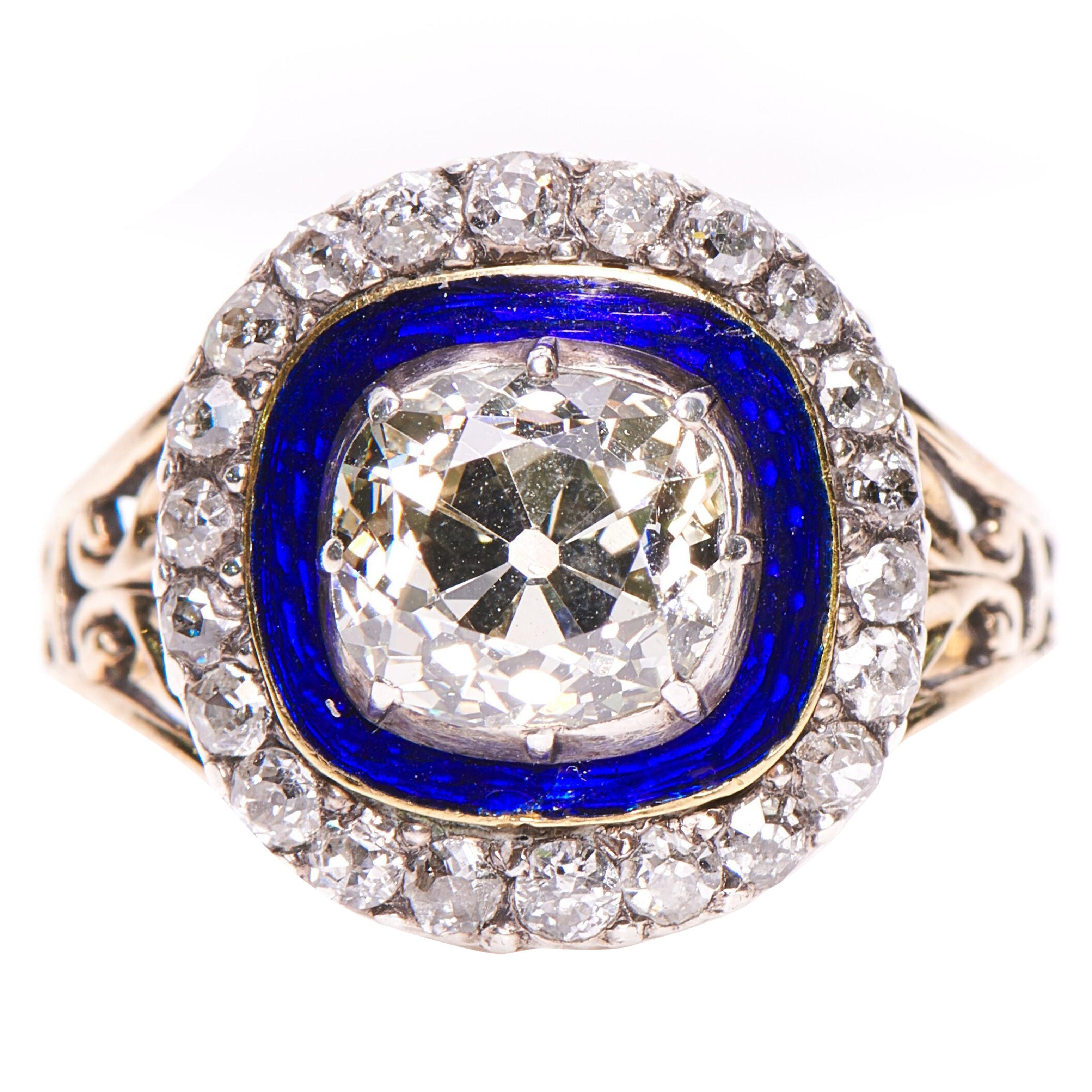 Antique Georgian Diamond Enamel Cluster 18 Carat Yellow Gold Ring