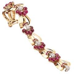 1940s Ruby Diamond Gold Bracelet