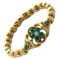 Victorian Emerald Diamond Gold Bracelet