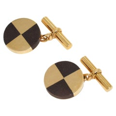 Mellerio Wood and Gold Cufflinks, Circa 1960