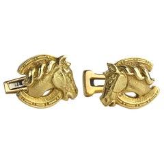 David Webb Gold Horse Cufflinks