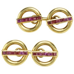 Cartier Ruby Gold Cufflinks
