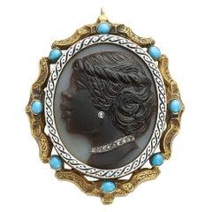 Blackamoor Diamond and Turquoise Cameo Pendant