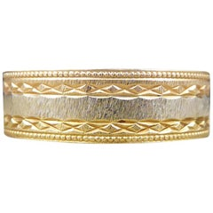 Detailed Wide Tri-Color Gold Wedding Band in 18 Carat Gold