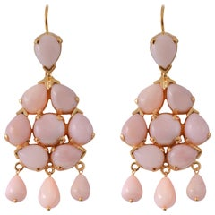 Emma Chapman Pink Opal Chandelier Gold Plate Earrings