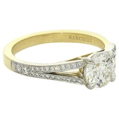 1.05 Carat Old European Brilliant Cut Diamond Ring with Split Shoulders