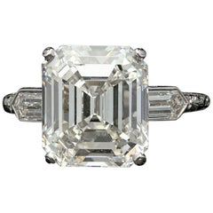 Hancocks 6.24 Carat Emerald Cut Diamond Ring with Bullet Diamond Shoulders