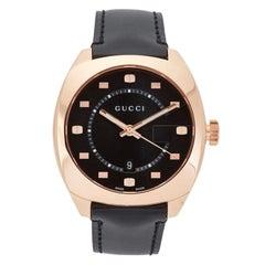 Gucci Black Dial Rose Gold-Tone Men's Watch YA142309