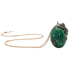 Diamond Lion on Green Malachite Energy Necklace 18k Gold and Sterling Silver