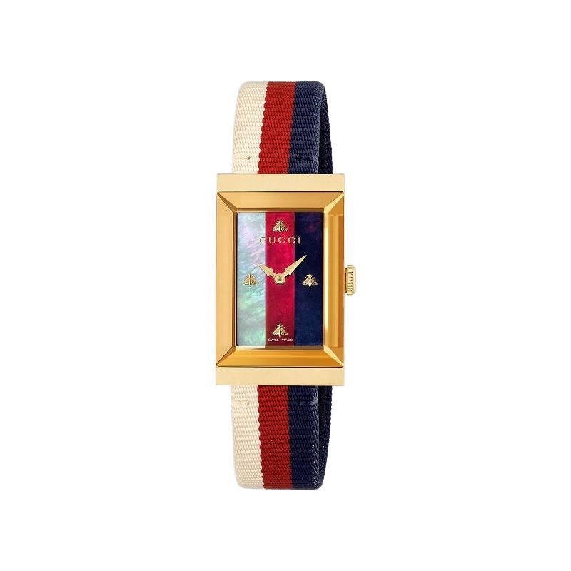 Gucci G-Frame Mother of Pearl Dial Ladies Nylon Watch YA147405