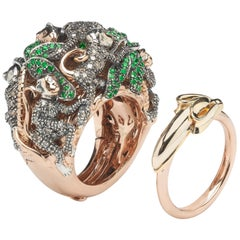 Monkey Ring in a Ring 18k Rose Gold and Silver with Diamonds and Green Tsavorite