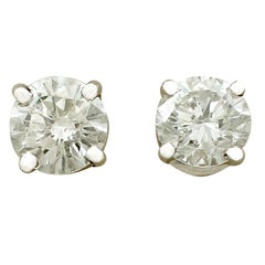 1.04 Carat Diamond and White Gold Stud Earrings