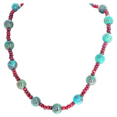 Unique Red Garnets and Chrysocola Necklace