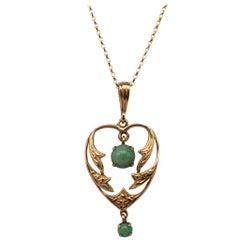 Turquoise Heart Pendant Drop Necklace Hallmarked, circa 1940s