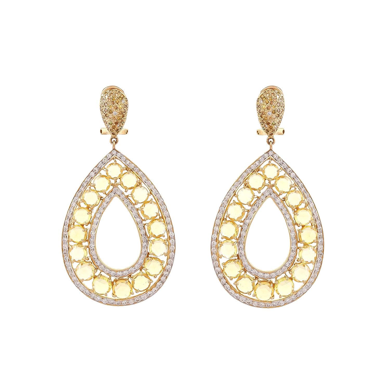Rose Cut Yellow Sapphire Fancy Diamond Drop Earring