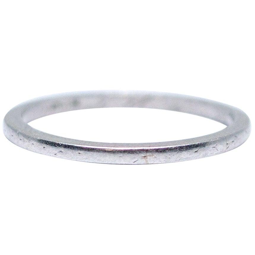 1923 Platinum Vintage Art Deco Thin Wedding Band Stackable Petite Ring