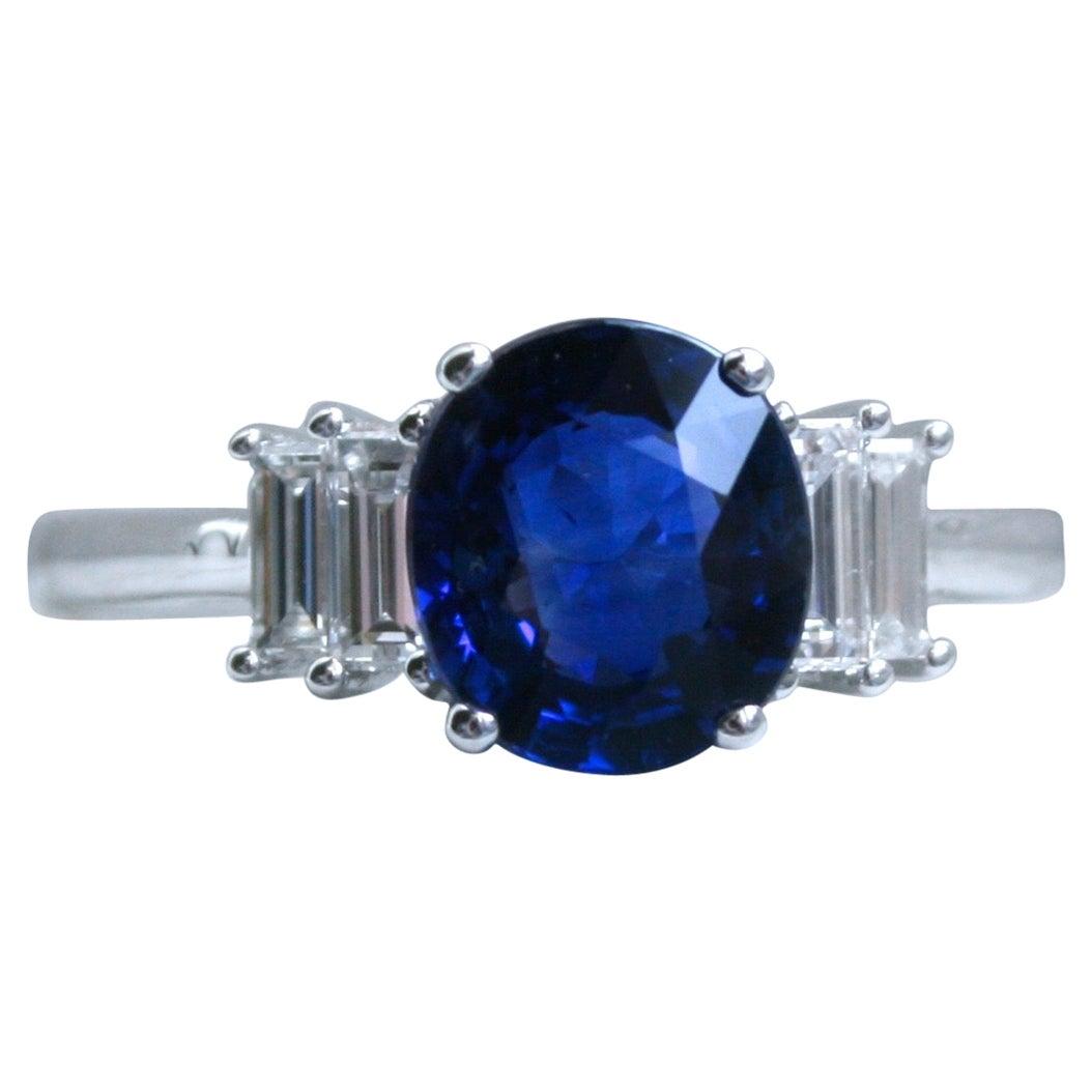 14 Karat Gold Diamond and Sapphire Ring Engagement Ring Baguette Cut Diamonds