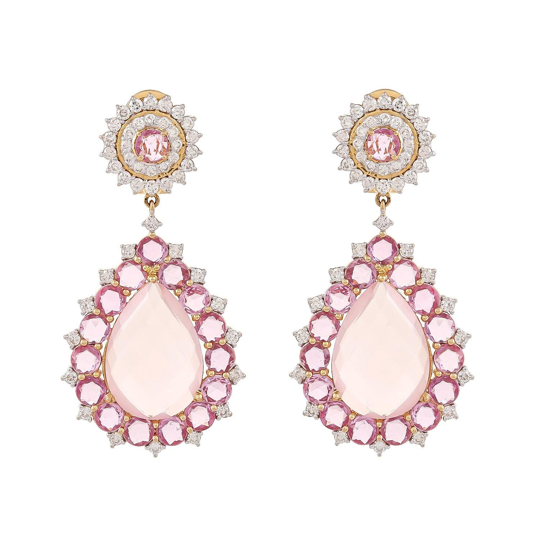 Rose Quartz Pink Sapphire 18 Karat Gold Diamond Teardrop Earring
