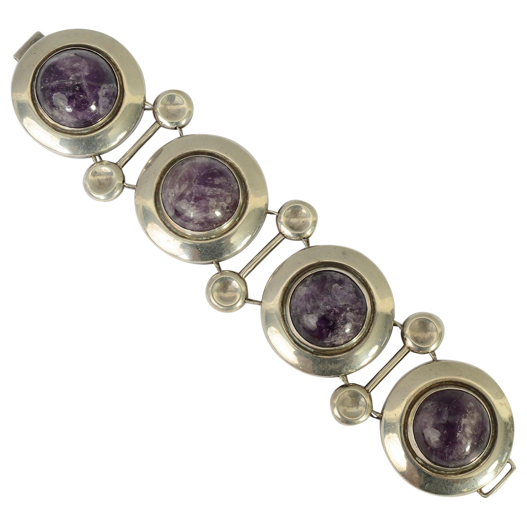 Frederick Davis Sterling Silver and Amethyst Bracelet
