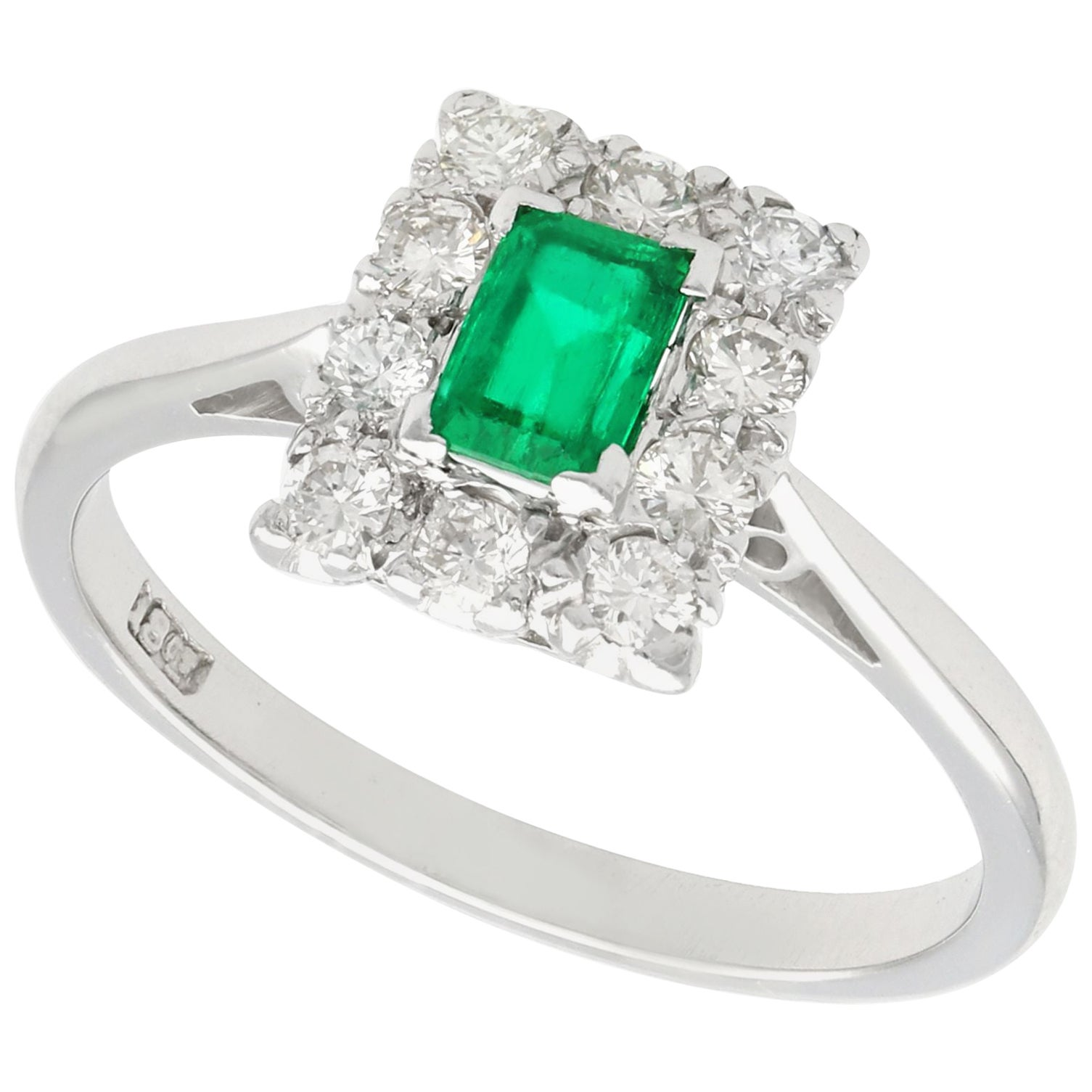 1940s Emerald Diamond White Gold Cocktail Ring