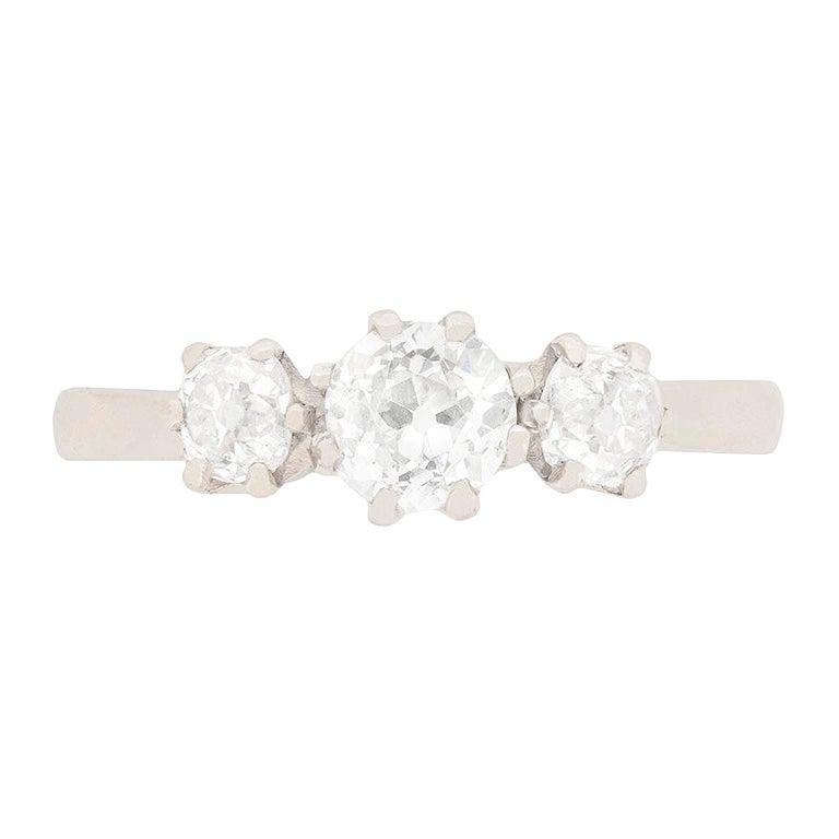 Art Deco 1.00 Carat Diamond Three-Stone Engagement Ring, circa 1920s