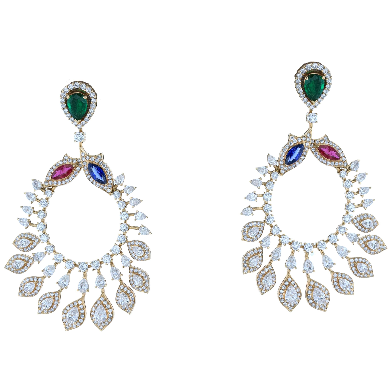 Amwaj Jewelry Emerald, Sapphire and Ruby Chandelier Earrings in 18 Karat Gold