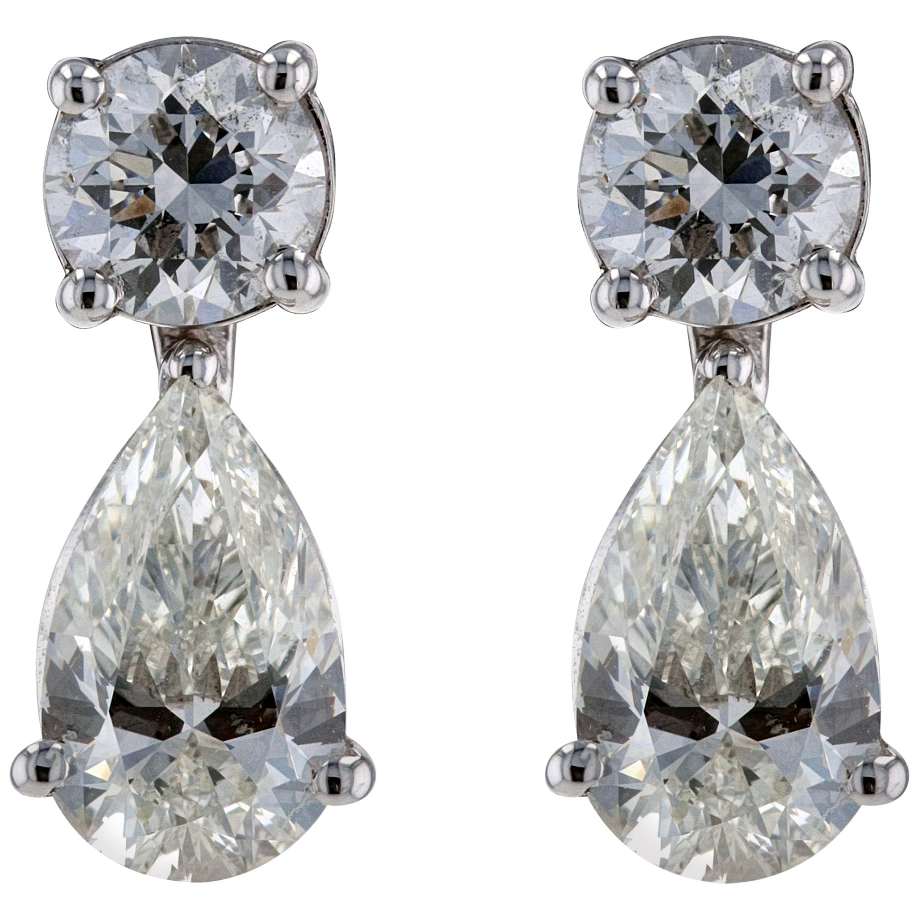 Amwaj Jewelry White Diamonds Earrings in 18 Karat White Gold
