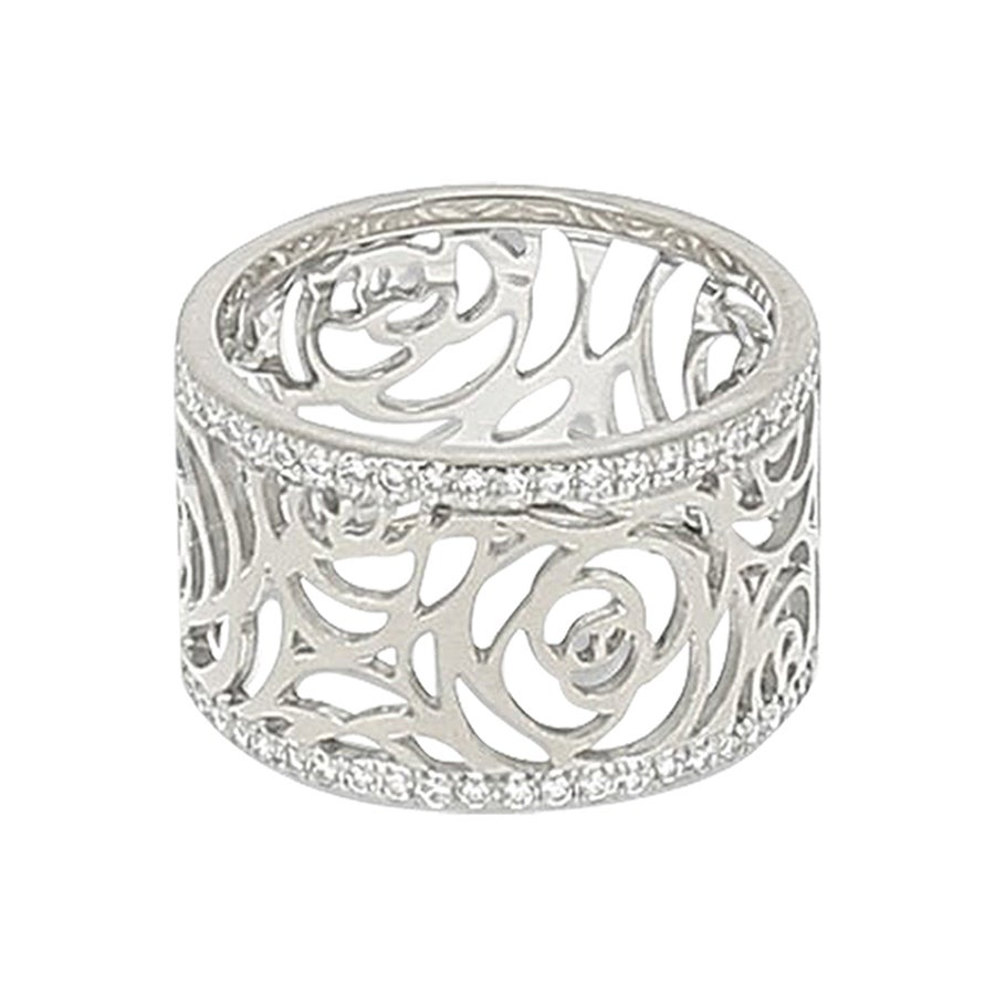 Chanel Camelia Ajoure White Gold and Diamond Ring