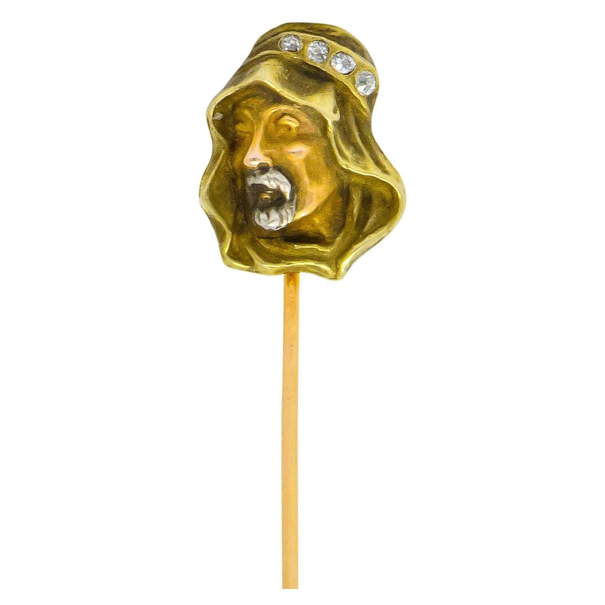 Art Nouveau Diamond 14 Karat Tri-Colored Gold Prophet Stickpin