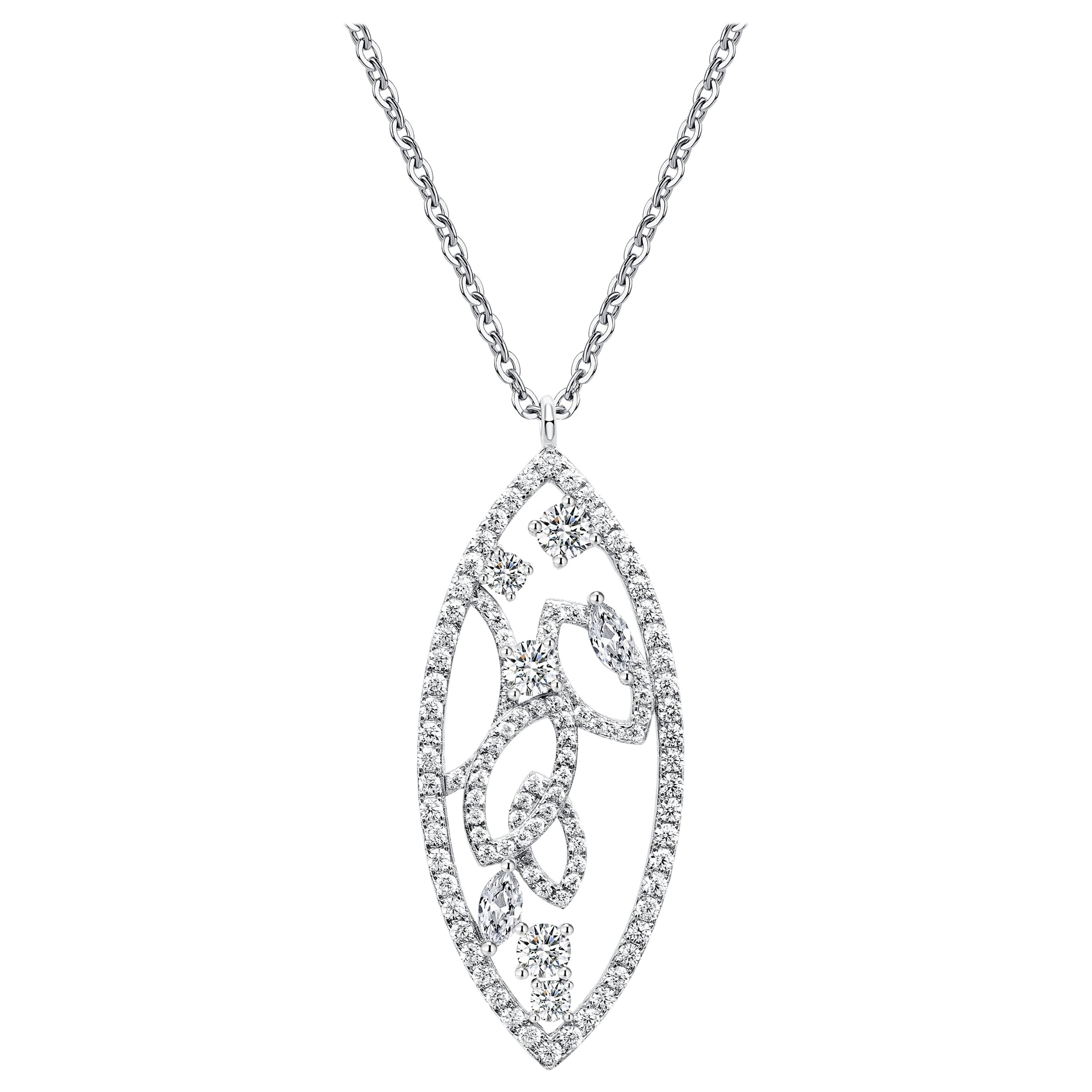18 Karat White Gold Diamond Lattice Pendant Necklace