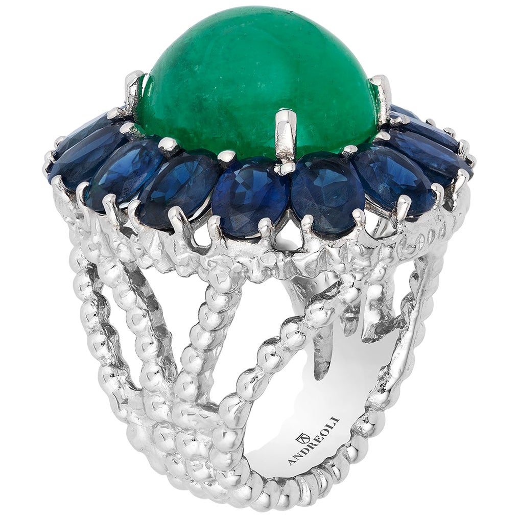 Andreoli Colombian Cabochon Emerald Blue Sapphire Cocktail Dome Ring Platinum