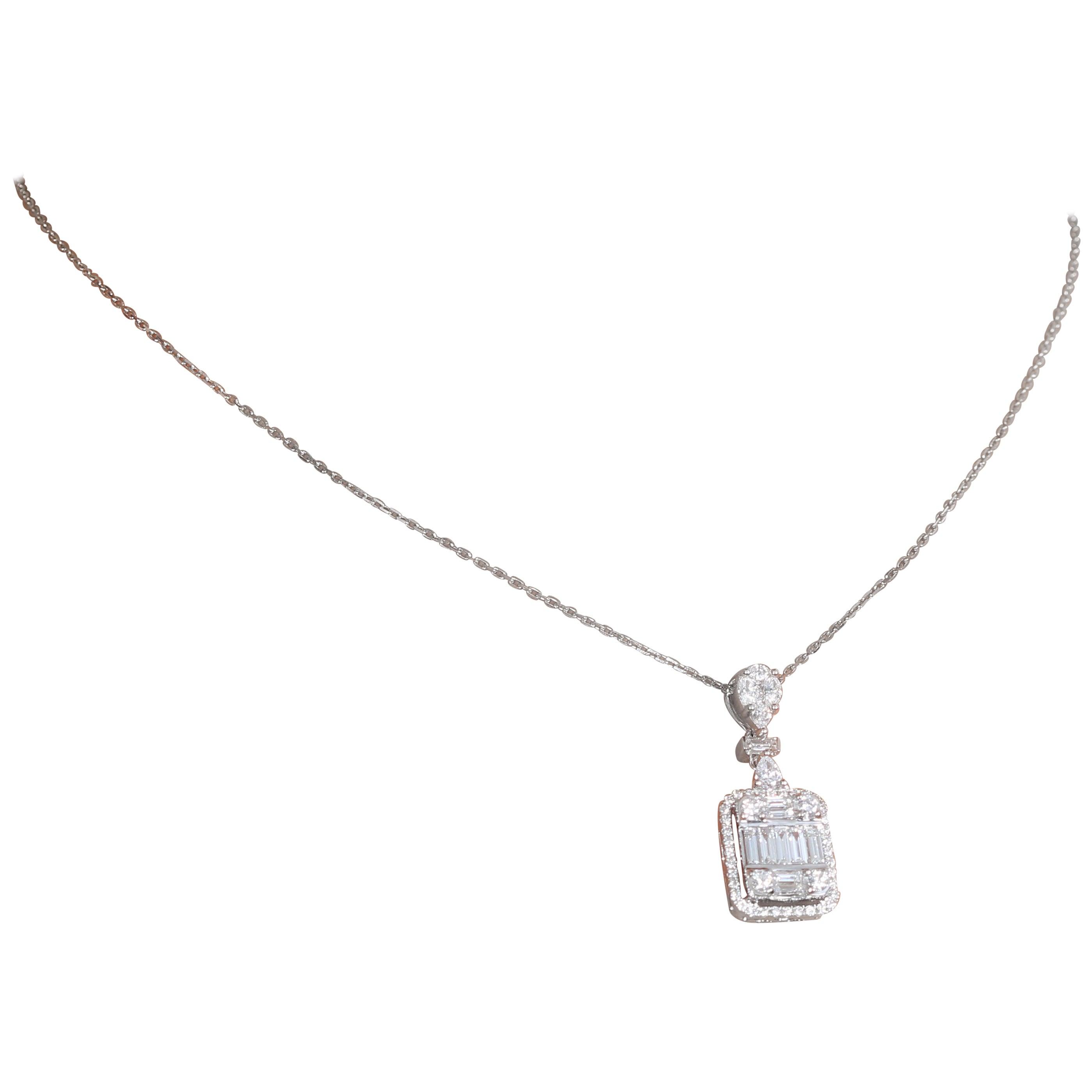 Amwaj White Gold 18 Karat Pendant with Diamond