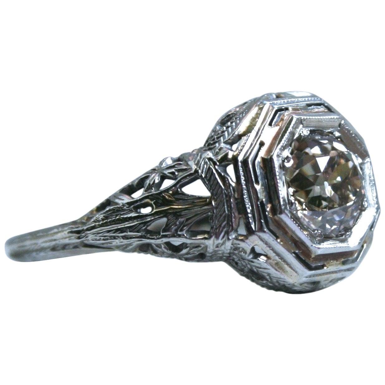 Vintage 18 Karat White Gold Diamond Engagement Ring, 1.25 Carat