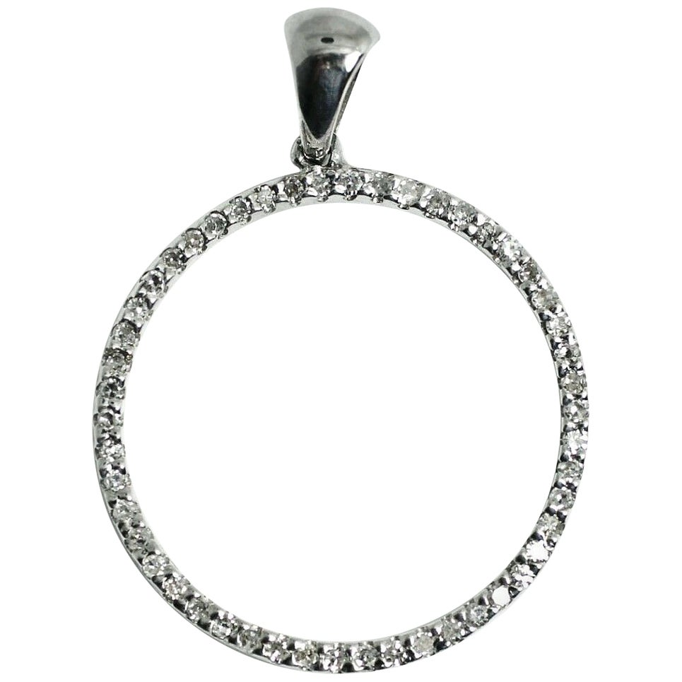 14 Karat White Gold Diamond Eternity Pendant