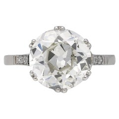 1920s Old Cut 4.01 Carat Diamond Solitaire Ring with Diamond Set Shoulders