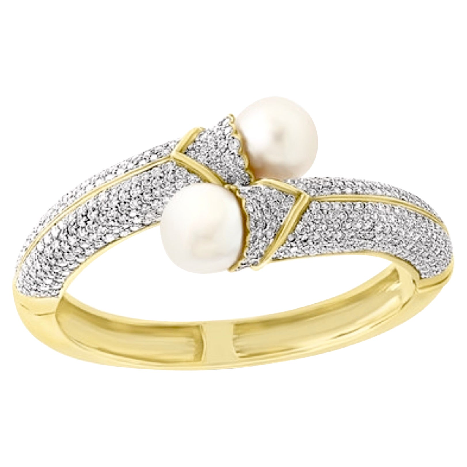 South Sea Pearl and 8 Carat Diamond Bangle in 18 Karat Yellow Gold Estate
