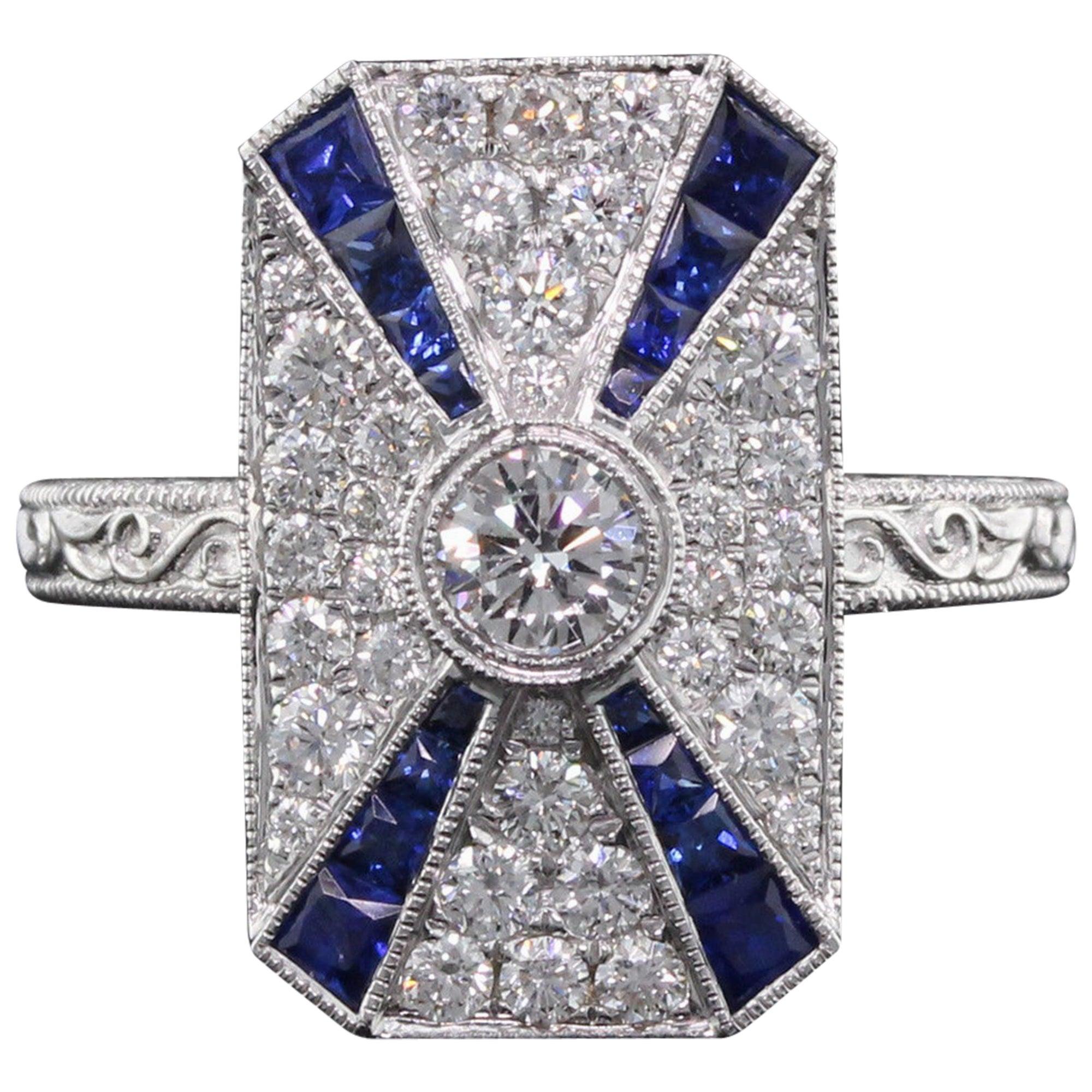 Art Deco Inspired 18 Karat White Gold Sapphire and Diamond Ring