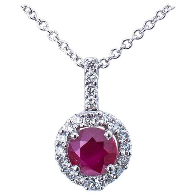 Ruby Diamond White Gold Pendant