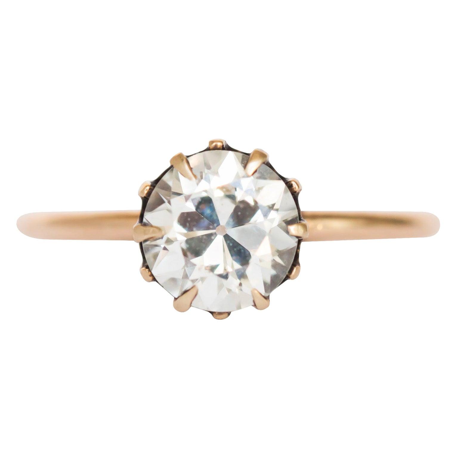 GIA Certified 1.08 Carat Diamond Yellow Gold Engagement Ring