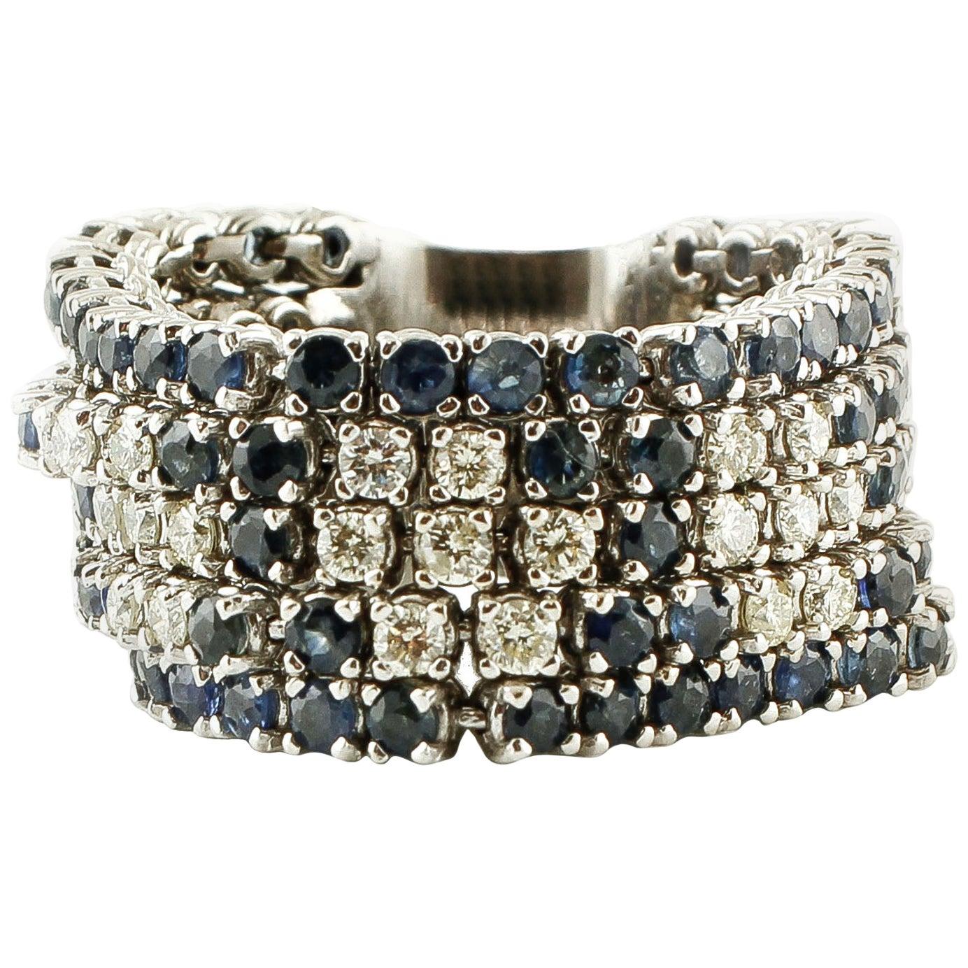 Diamonds, Blue Sapphires, 14 Karat White Gold Band Ring