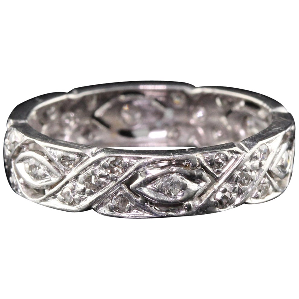 Antique Art Deco Platinum Diamond Filigree Wedding Band
